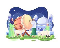 as pessoas dão as boas-vindas a eid al adha mubarak à noite com uma cama e algumas cabras e ovelhas ilustração vetorial vetor