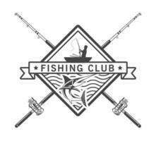 emblema de pescador e varas vetor