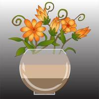 lindo vaso de flores vetor