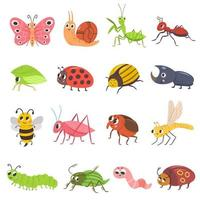 lindo conjunto de insetos. Conjunto de ilustração vetorial de bug feliz e sorridente vetor