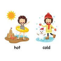palavras opostas ilustração vetorial quente e frio vetor