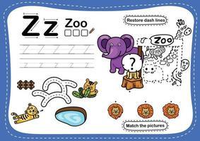 alfabeto letra z exercício zoológico com vetor de ilustração de vocabulário de desenho animado
