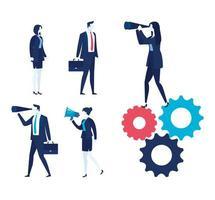 empresários elegantes e ícones de trabalho definidos vetor