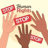 direitos humanos com as mãos ao alto e design de vetor de banners de paradas