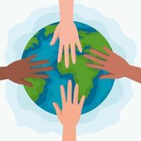 direitos humanos com as mãos e design de vetor mundial