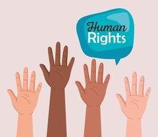 direitos humanos com mãos de diversidade e design de vetor de bolha