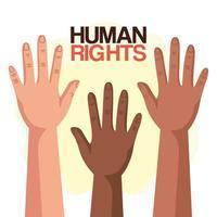 direitos humanos com diversidade mãos para cima design de vetor