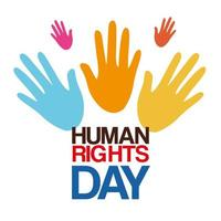 direitos humanos com desenho vetorial de mãos coloridas vetor