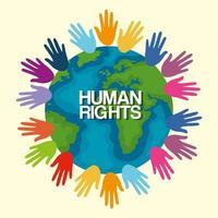 direitos humanos com mãos coloridas e design de vetor mundial