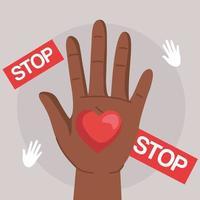 direitos humanos com coração de mão negra e design de vetor de banners de parada