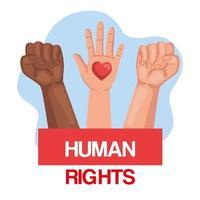 direitos humanos com punhos e mãos com desenho vetorial de coração vetor