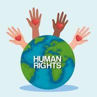 direitos humanos com mãos ao alto e desenho vetorial mundial vetor