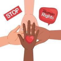 direitos humanos com diversidade mãos coração e design de vetor de bolha