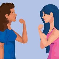 empoderamento das mulheres com desenhos animados femininos de lado, fazendo design de vetor de sinais musculares