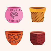 pacote de potes de cerâmica vazios de ícones de jardim vetor