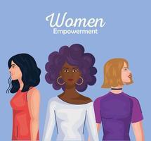 empoderamento das mulheres com desenhos animados femininos de design de vetor lateral