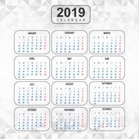 Ano 2019, Calendário Design Bonito vetor