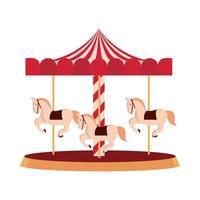 carrossel de parque de diversões com design isolado de cavalos vetor