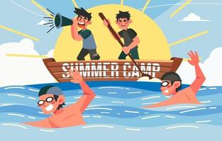 nadando no acampamento de verão vetor