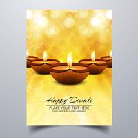 Linda feliz diwali diya óleo lâmpada brochura de modelo de festival vetor