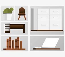 conjunto de móveis de escritório vetor