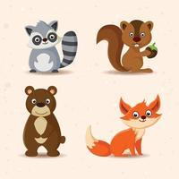 conjunto de desenho animado de animal engraçado vetor