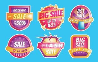 conjunto de modelos de adesivos de banner de venda vetor