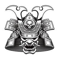 ilustração em vetor preto e branco de uma máscara de samurai em fundo branco