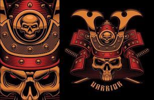 ilustração em vetor vintage de um crânio de samurai colorido com espadas katana cruzadas