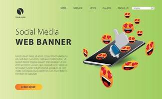 página de destino de mídia social com ilustração emoji e smartphone vetor