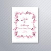 Modelo de cartão floral decorativo de convite de casamento lindo des vetor
