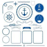 coleção de moldura marítima náutica com farol de barco de corda marinha vetor