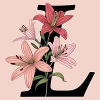 Monograma de logotipo de vetor letra l com flores de lírio rosa