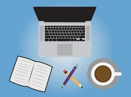 café e laptop e anotações de livro, lápis e caneta de vista de alto ângulo vetor