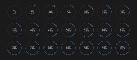 conjunto de diagramas de porcentagem de arco de semicírculo medidores de barra de progresso de 0 a 100 para interface de usuário de design de web ui ou indicador de infográfico com azul vetor
