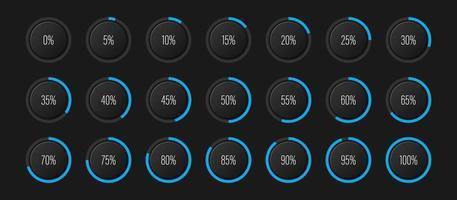 conjunto de diagramas de porcentagem de arco de semicírculo medidores de barra de progresso de 0 a 100 para interface de usuário de web design ui ou indicador de infográfico com azul ciano vetor
