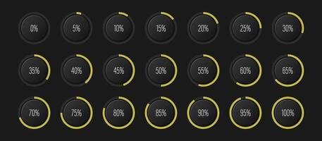 conjunto de diagramas de porcentagem de arco de semicírculo medidores de barra de progresso de 0 a 100 para interface de usuário de web design ui ou indicador de infográfico com amarelo vetor