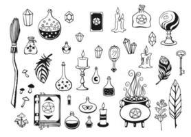 feitiçaria mágica fundo para bruxas e bruxos vetor coleção vintage mão desenhada ferramentas mágicas conceito de feitiçaria
