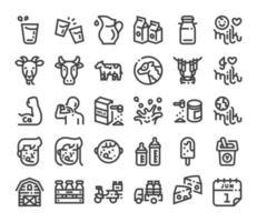 ícone de leite em negrito conjunto de ícones lineares vetor