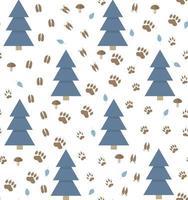Padrão de vetor sem costura com pegadas de animais e pinheiro em um fundo branco, perfeito para papel de parede, papel de embrulho, tecido ou tecido