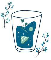 conceito de bebida saudável de desintoxicação de vegetariano verde refrescante para comida saudável barra de menu bebida de verão saudável ilustração vetorial plana vetor