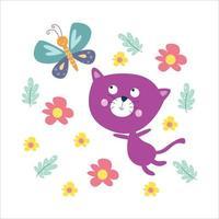ilustração do projeto do modelo do vetor da atividade do gato bonito plana dos desenhos animados