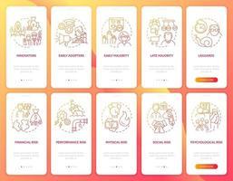 tela de página de aplicativo móvel de teste de produto com conjunto de conceitos vetor