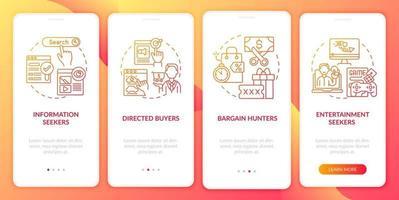 Comportamento do comprador da Internet na tela da página do aplicativo móvel com conceitos vetor