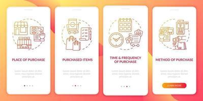 padrões de comportamento do consumidor na tela da página do aplicativo móvel com conceitos vetor