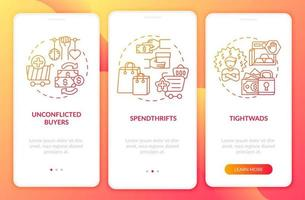 compradores digitam tela de página de aplicativo móvel de integração com conceitos vetor