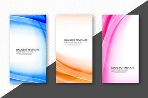 Cabeçalhos de onda colorida moderna definir design de modelo de negócio vetor