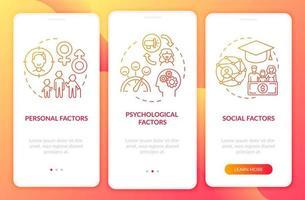 fatores de decisão de compra integrando a tela da página do aplicativo móvel com conceitos vetor