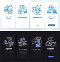 Comportamento do comprador online integrando a tela da página do aplicativo móvel com conceitos vetor