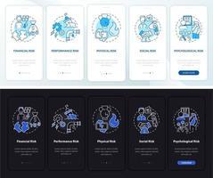Riscos de compra na tela da página do aplicativo móvel com conceitos vetor